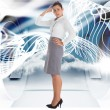 Composite image of worried businesswoman — Stock Photo