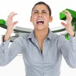 Composite image of furious businesswoman gesturing — Stock Photo #39231367
