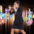 Composite image of angry businesswoman gesturing — Stock Photo