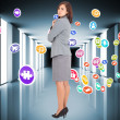 Composite image of focused businesswoman — Stock Photo