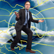 Composite image of businessmposing with arms outstretched — Stock Photo #39233605