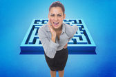 Composite image of businesswoman shouting — Stock Photo