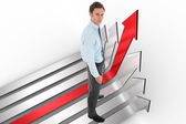 Composite image of serious businessman standing — Stock Photo