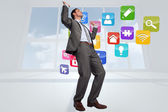 Composite image of businessman posing with hands up — Stock Photo