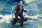 Composite image of businessman posing with arms outstretched — Stock fotografie