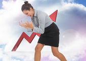 Composite image of furious businesswoman gesturing — Stock Photo