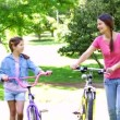 Mother and daughter on a bike ride together — Stock Video