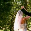 Happy newlywed couple dancing in the park — Stock Video #42646999