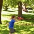 Little boy playing with toy airplane — Stock Video
