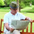 Retired man reading the paper on a park bench — Stock Video