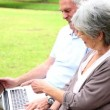 Retired couple sitting on a park bench using a laptop — Stock Video #42647775