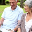 Retired couple sitting on a park bench using a laptop — Stock Video #42647785
