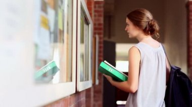 Pretty student checking the noticeboard — Vidéo