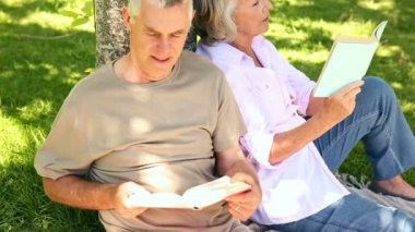 Retired couple leaning against tree reading — Stock Video
