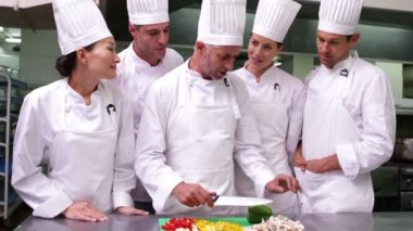 Chefs watching head chef slicing vegetables — Stock Video