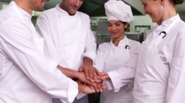 Chefs putting hands together and cheering — Stock Video