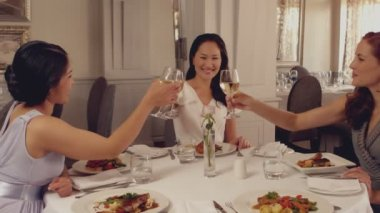 Women toasting with white wine at dinner — Stockvideo
