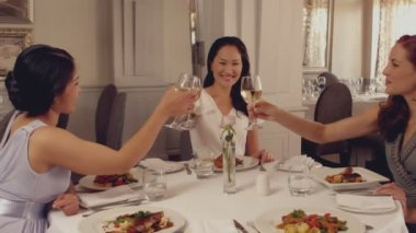 Women toasting with white wine at dinner — Vidéo