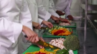 Team of chefs chopping vegetables — Stock Video