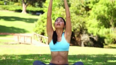 Fit asian girl doing yoga in the park — Stock Video