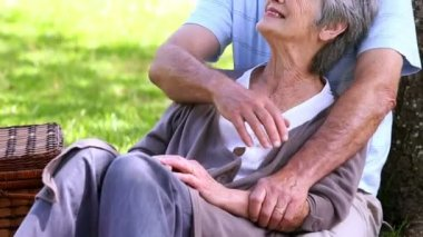 Senior couple relaxing in the park together — Stock Video
