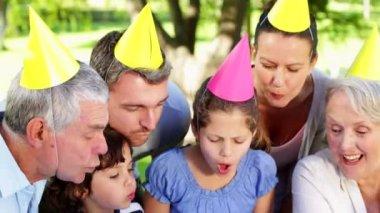 Family celebrating little girls birthday — Stock Video