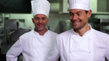 Two smiling chefs giving thumbs up — Stock Video