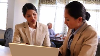 Businesswomen using laptop together — Stock Video