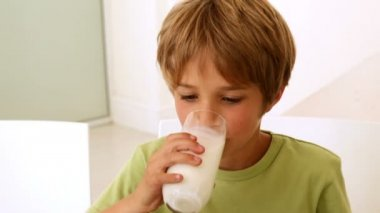 Little boy drinking a glass of milk — Stock Video