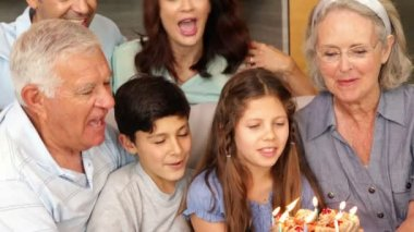 Happy extended family celebrating a birthday and blowing out candles — Stock Video