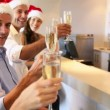 Friends celebrating christmas with champagne — Stockvideo