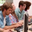 Students working in computer room with lecturer — Stok video #42652601