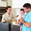 Working mother waving goodbye to house husband and baby — Stock Video #42654515