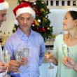 Happy friends celebrating christmas together with champagne — 图库视频影像