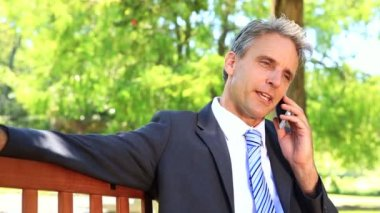 Businessman sitting on park bench talking on phone — Stock Video