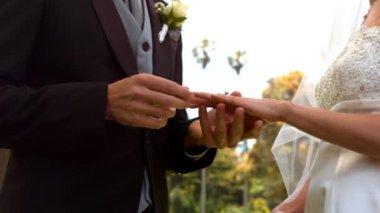 Man placing ring on brides finger — Stock Video