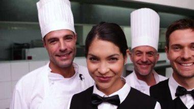 Cheerful restaurant staff — Stock Video