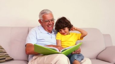 Senior man sitting on couch with his grandson looking at photo album — Stock Video