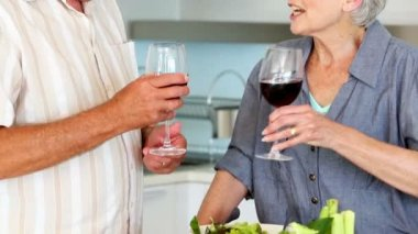 Senior couple preparing a healthy salad while drinking red wine — Stock Video