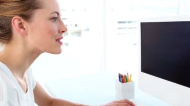 Pretty graphic designer using digitizer — Stock Video