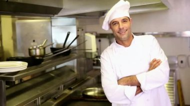 Handsome chef making ok sign to camera — Stock Video
