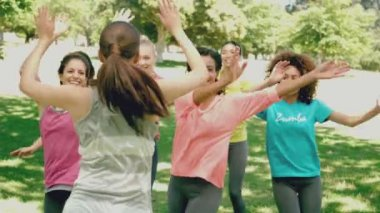 Zumba class dancing in the park — Stock Video