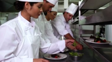 Chefs garnishing dessert — Stock Video