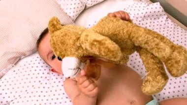 Baby lying in crib sucking soother holding teddy — Стоковое видео