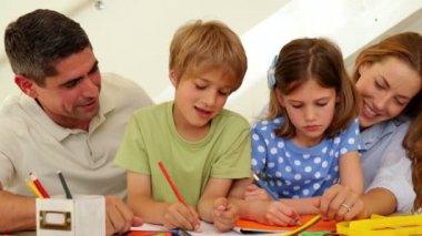 Happy parents and children drawing together — Vidéo