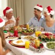Happy extended family at the christmas dinner table — Stock Video #42664213