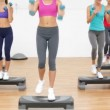Aerobics class stepping together led by instructor and lifting dumbbells — Stock Video