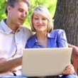 Affectionate couple sitting on park bench using laptop — Stock Video #42666853