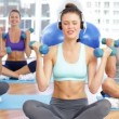 Fitness class sitting together and lifting dumbbells — Stock Video