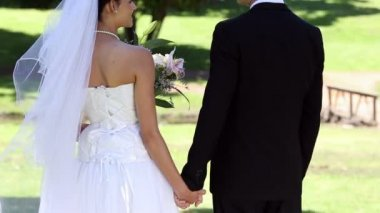 Newlyweds standing in the park holding hands — Stock Video